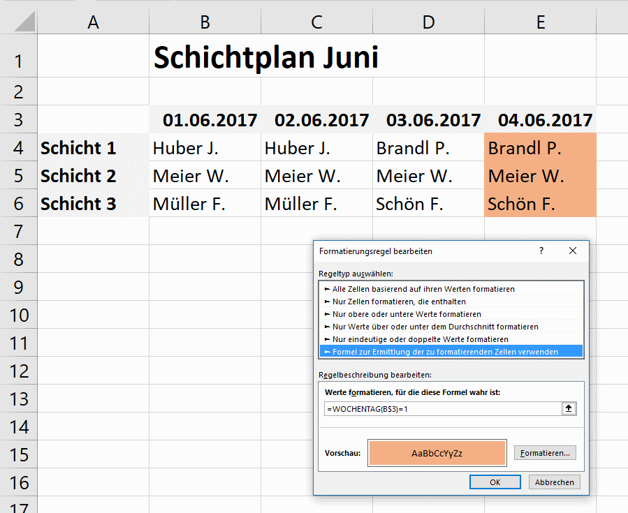 Excel: Dieser Schichtplan nutzt die Bedingte Formatierung | Tippscout.de