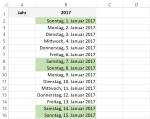 Beispiel Ewiger Jahreskalender in Excel