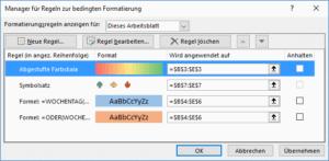 Excel Bedingte Formatierung verwalten
