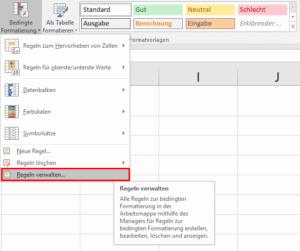 Excel - Menüpunkt Regeln verwalten