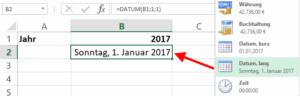Zellformat Datum lang