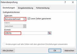 Excel Nur Text zulassen