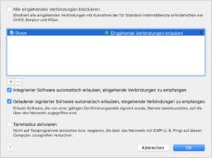 Eingehende Verbindungen in Mac Firewall festegen