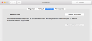 Option zum Firewall aktivieren auf dem Mac