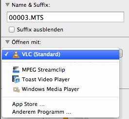 Auswahl für Standardprogramm auf dem Mac