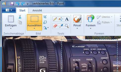 Windows Paint beim Zuschneiden eines Bildes