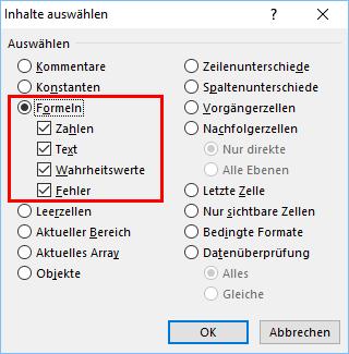 Excel: Berechnete Felder finden und automatisch markieren lassen ...