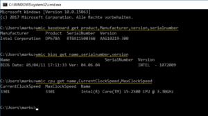 Motherboard und BIOS Version per Kommandozeile