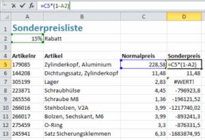 Excel Rabattpreisliste mit falschen Bezügen