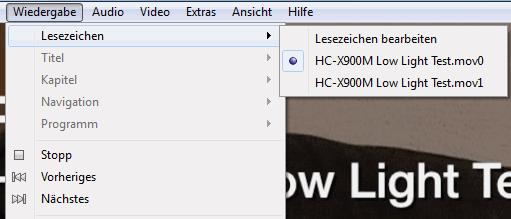 Lesezeichen in einem Video
