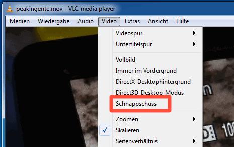 Schnappschuss-Funktion des VLC mediaplayer