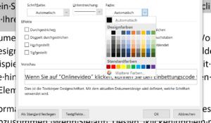 In Farbe unterstreichen über das Schriftartmenü