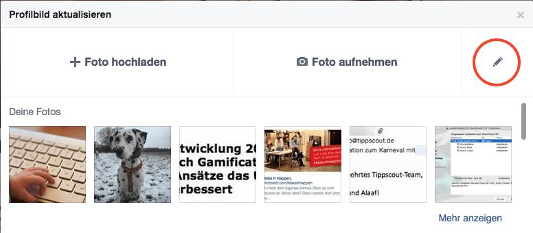 Stiftsymbol in FB-Dialog zum Ändern des Profilbildes