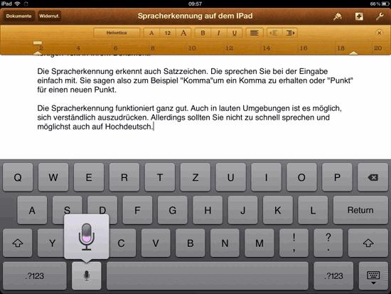 Spracherkennungsfunktion auf dem iPad