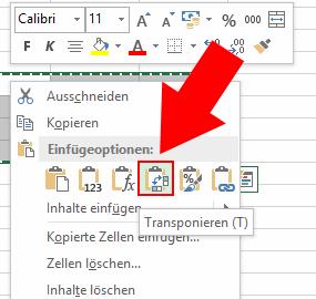 Excel Einfügen mit Transponieren