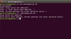 echo -n Befehl in einem Linux-Shellscript