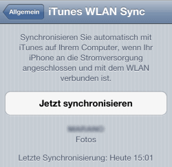 iPhone manueller WLAN Sync