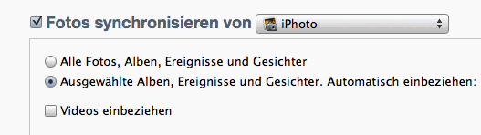 Bilder aus iPhoto mit dem iPad synchronisieren