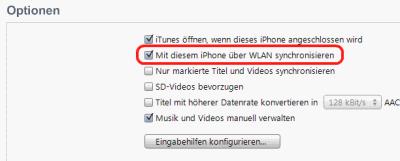 iTunes Einstellung WLAN Sync