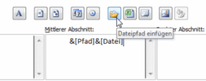 Dateiname in Fußzeile
