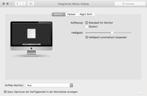 Automatische Helligkeit ausschalten auf dem Mac