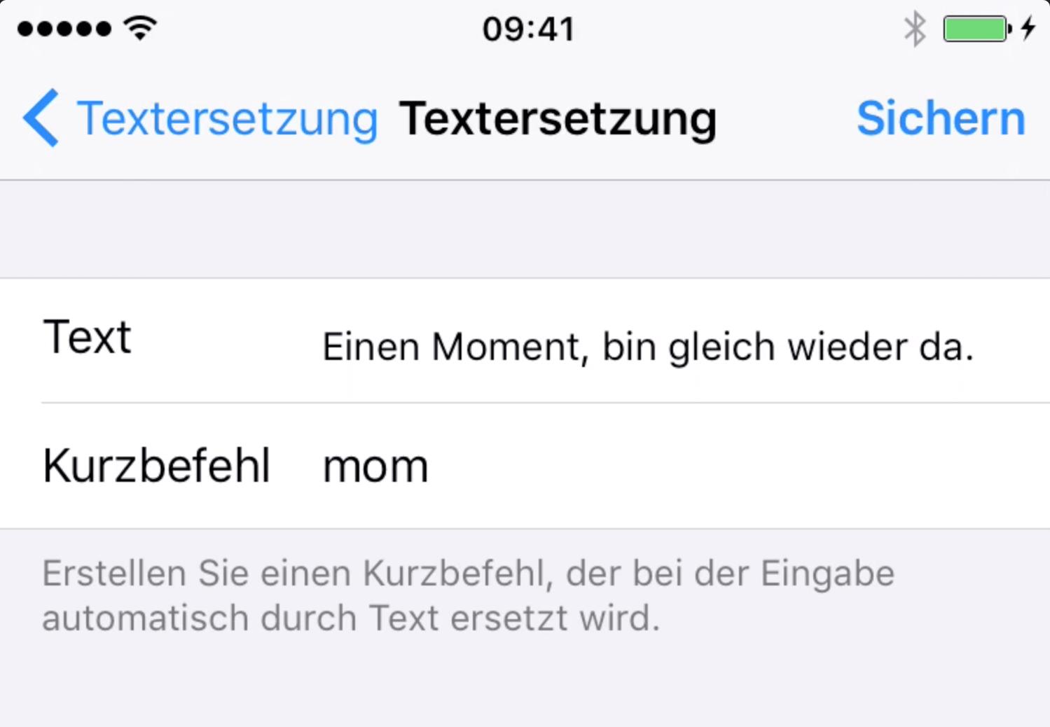 Beispiel Kürzel iPhone