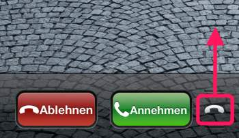 iPhone Telefonsymbol nach oben ziehen