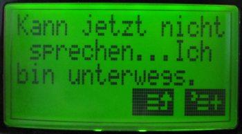 SMS-Inhalt bei Option Ich bin unterwegs - (Foto: Markus Schraudolph)