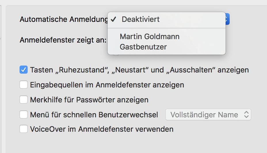 Mac automatisch anmelden