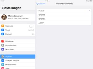 iPad Umlaute in Tastatur-Einstellungen