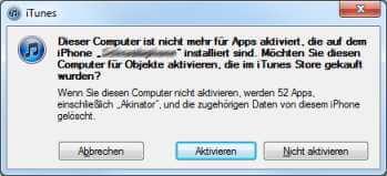 Meldung iTunes Aktivierung