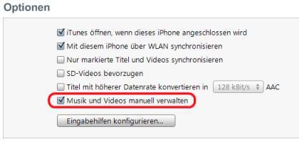 iTunes Musik manuell verwalten