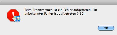 Apple Fehlermeldung