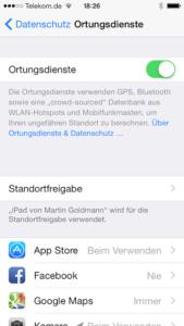 Optionen für Ortungsdienste auf dem iPhone