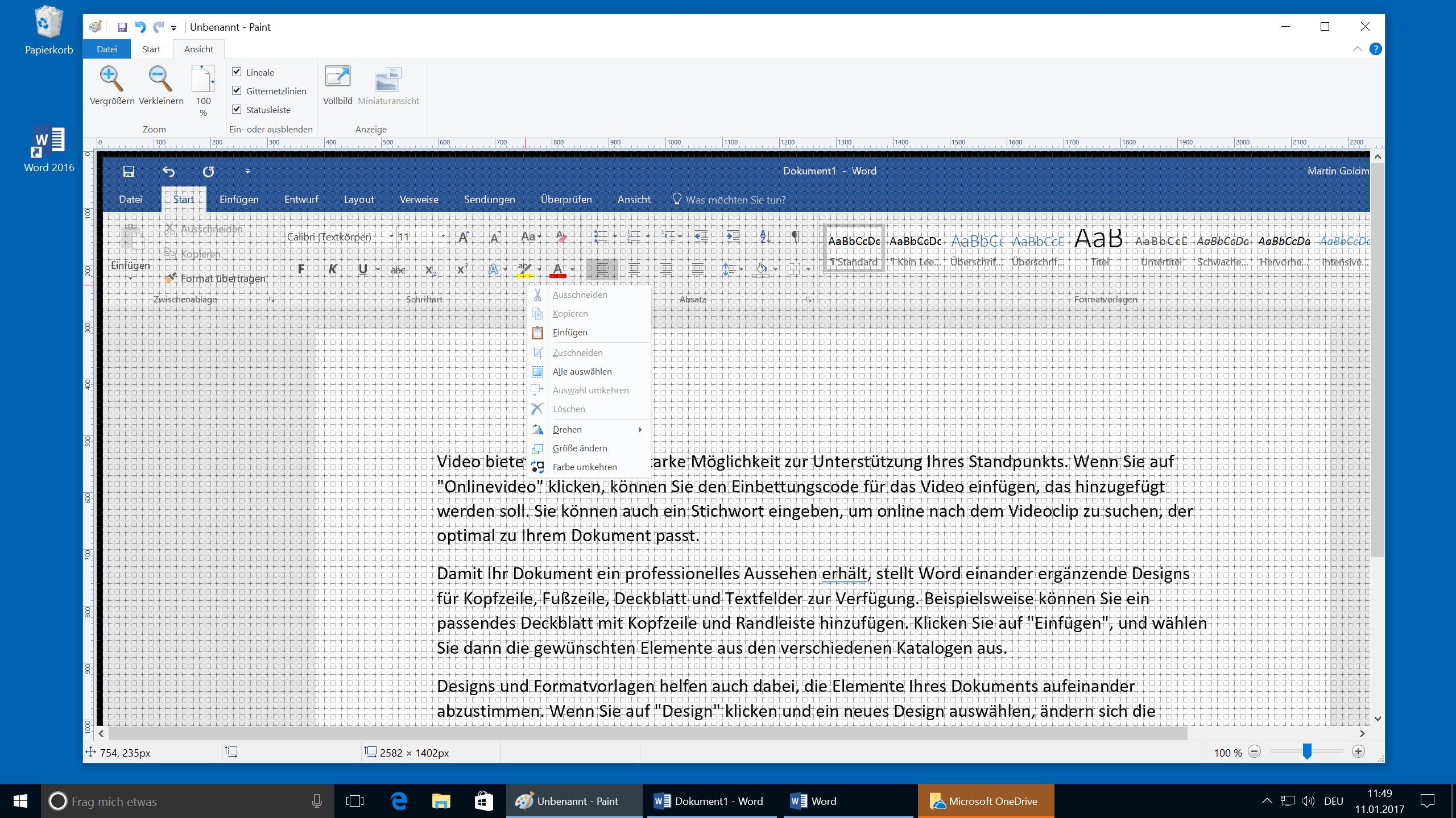 Windows Screenshot aufgenommen und eingefügt