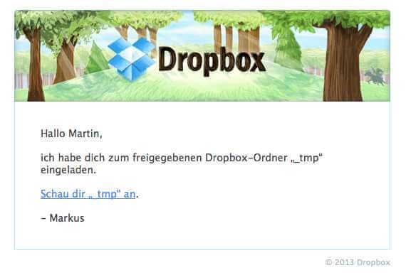 dropbox: verzeichnis freigeben, Einladung