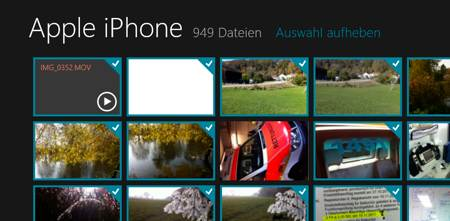 Import aus dem iPhone auf Windows 8