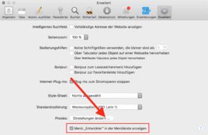 Safari Entwicklermodus einschalten