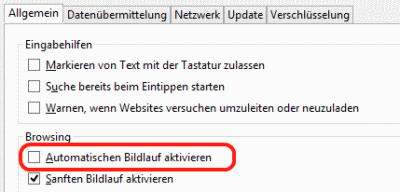 Firefox Autoscroll aus