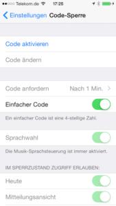 Code Sperren auf dem iPhone