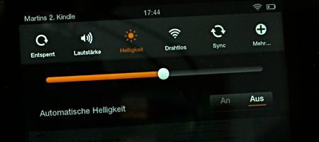 Schiebregler für die Helligkeit des Amazon Kindle HD - (Foto: Martin Goldmann)