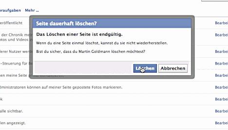 Seite löschen in Facebook