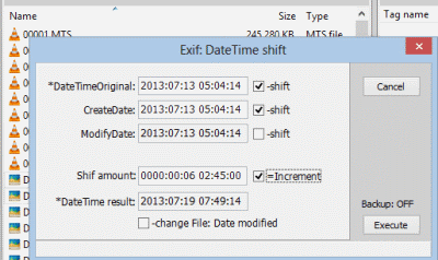 Exiftool DatetimeShift