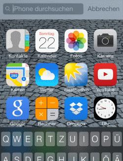 iOS7 Suchfunktion
