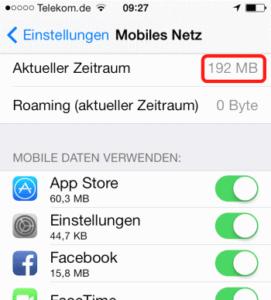 iPhone Datenvolumen anzeigen lassen