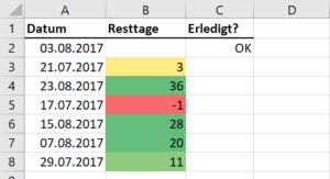 Terminliste mit farbigen Markierungen
