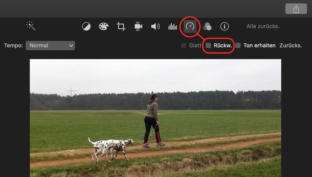 iMovie Video rückwärts abspielen