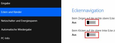 Windows 8.1 Ecken deaktivieren