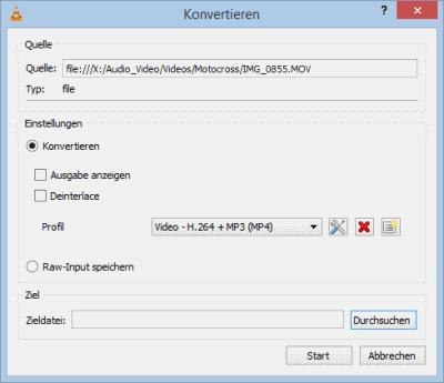 VLC Fenster konvertieren