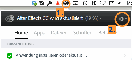 Adobe Updater-Symbol in Menüleiste